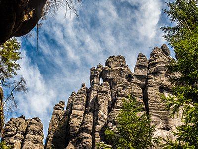 Rocky peaks on rock climbing camp in Labske Udoli in Czech Republic
