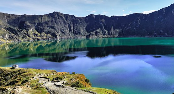 Beautiful view of Quilotoa on trekking tour in Ecuador in the Avenue of Volcanoes