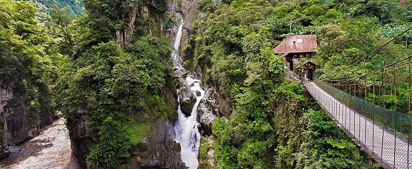 Bridge on trekking tour in Ecuador in the Avenue of Volcanoes