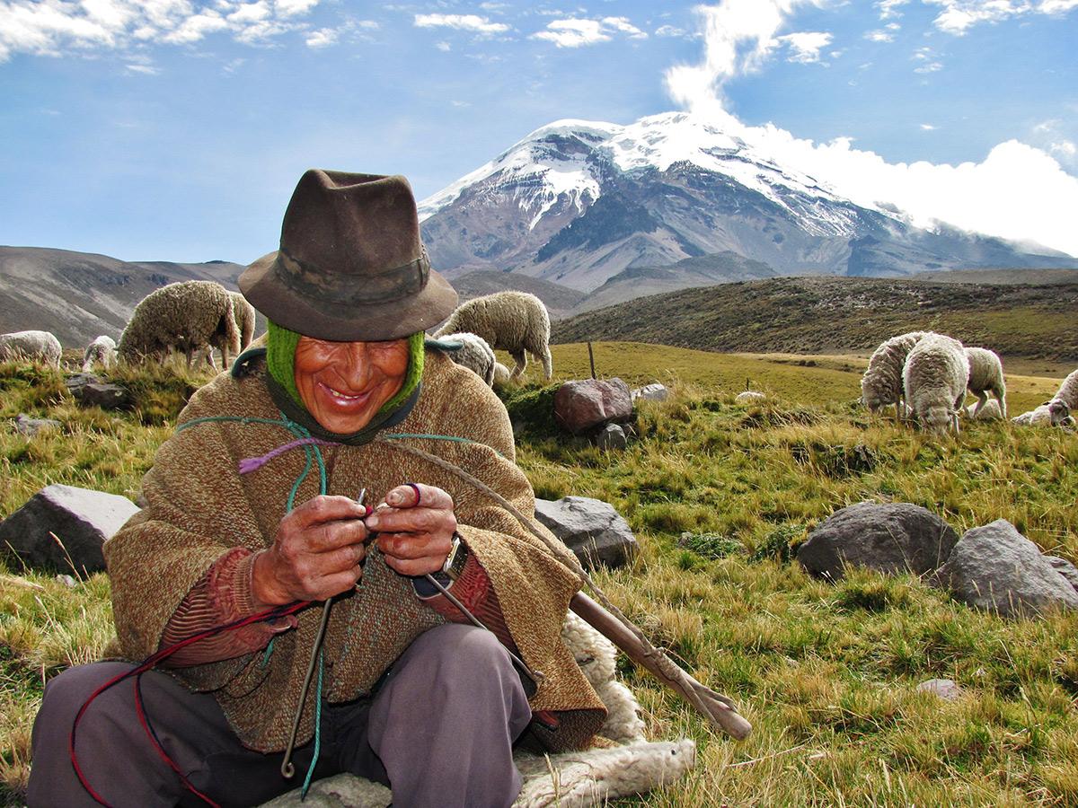 Local Ecuadorian farmer on trekking tour in Ecuador in the Avenue of Volcanoes