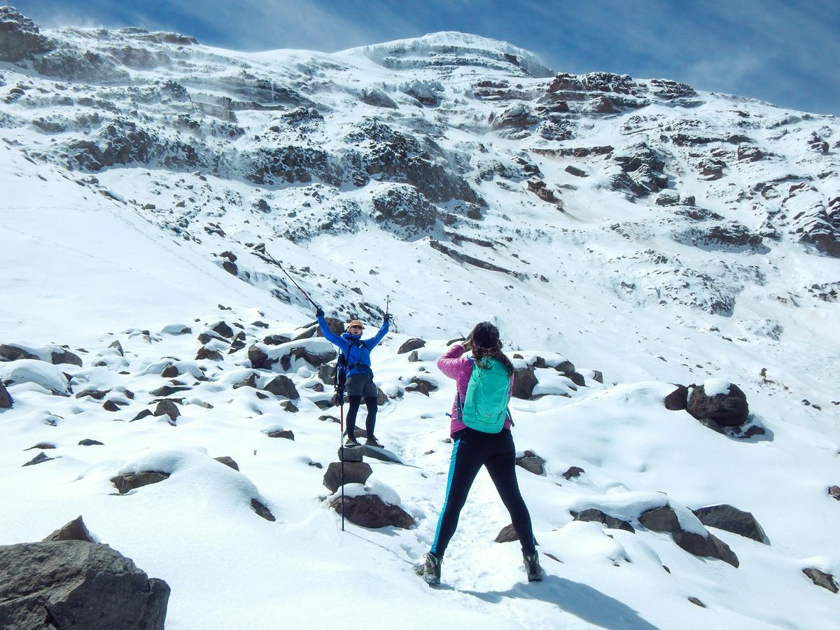 Hikers on trekking tour in Ecuador in the Avenue of Volcanoes
