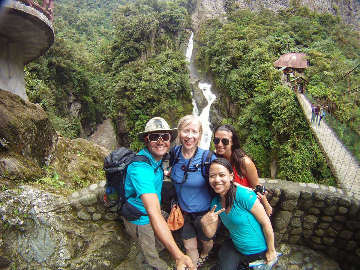 Selfie on trekking tour in Ecuador in the Avenue of Volcanoes