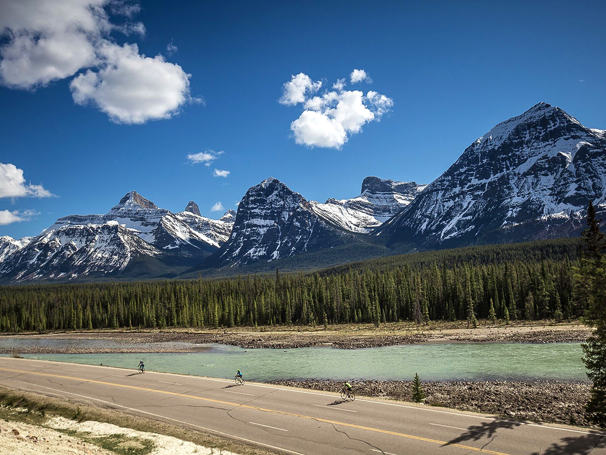 Icefields Parkway is an amazing route to ride the bike on guided cycling tour from Jasper to Banff in Canada