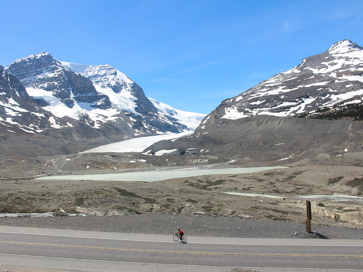 Great scenery surrounding guided cycling tour from Jasper to Banff in Canada