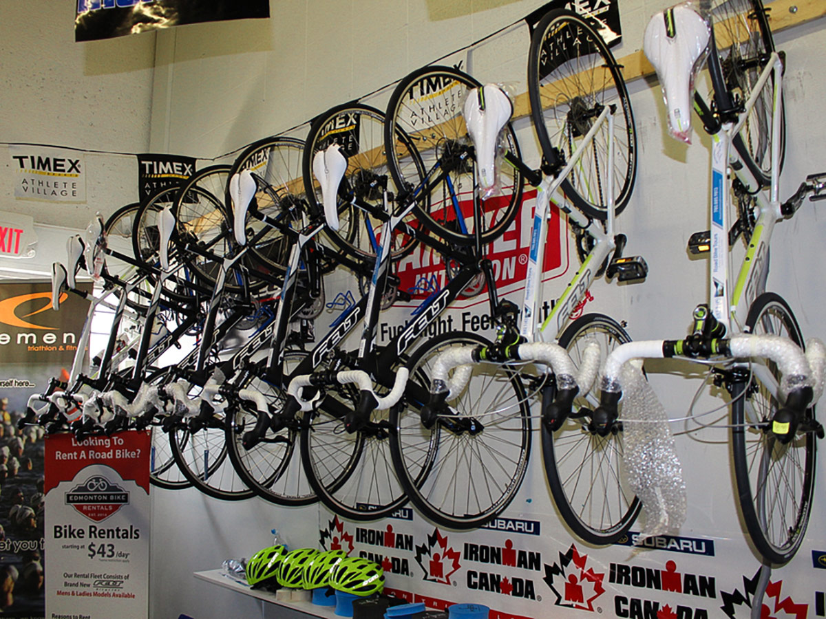 Selection of bikes on guided cycling tour from Jasper to Banff in Canada