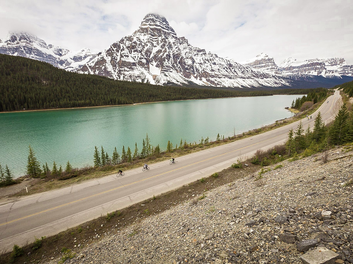 Icefields Parkway has some of the best views on guided cycling tour from Jasper to Banff in Canada