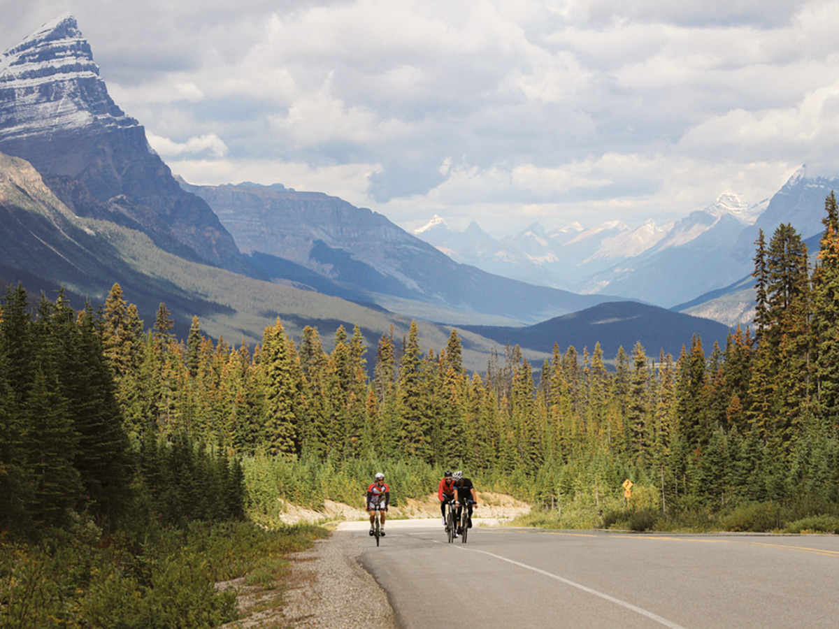 Three bikers on guided cycling tour from Jasper to Banff in Canada