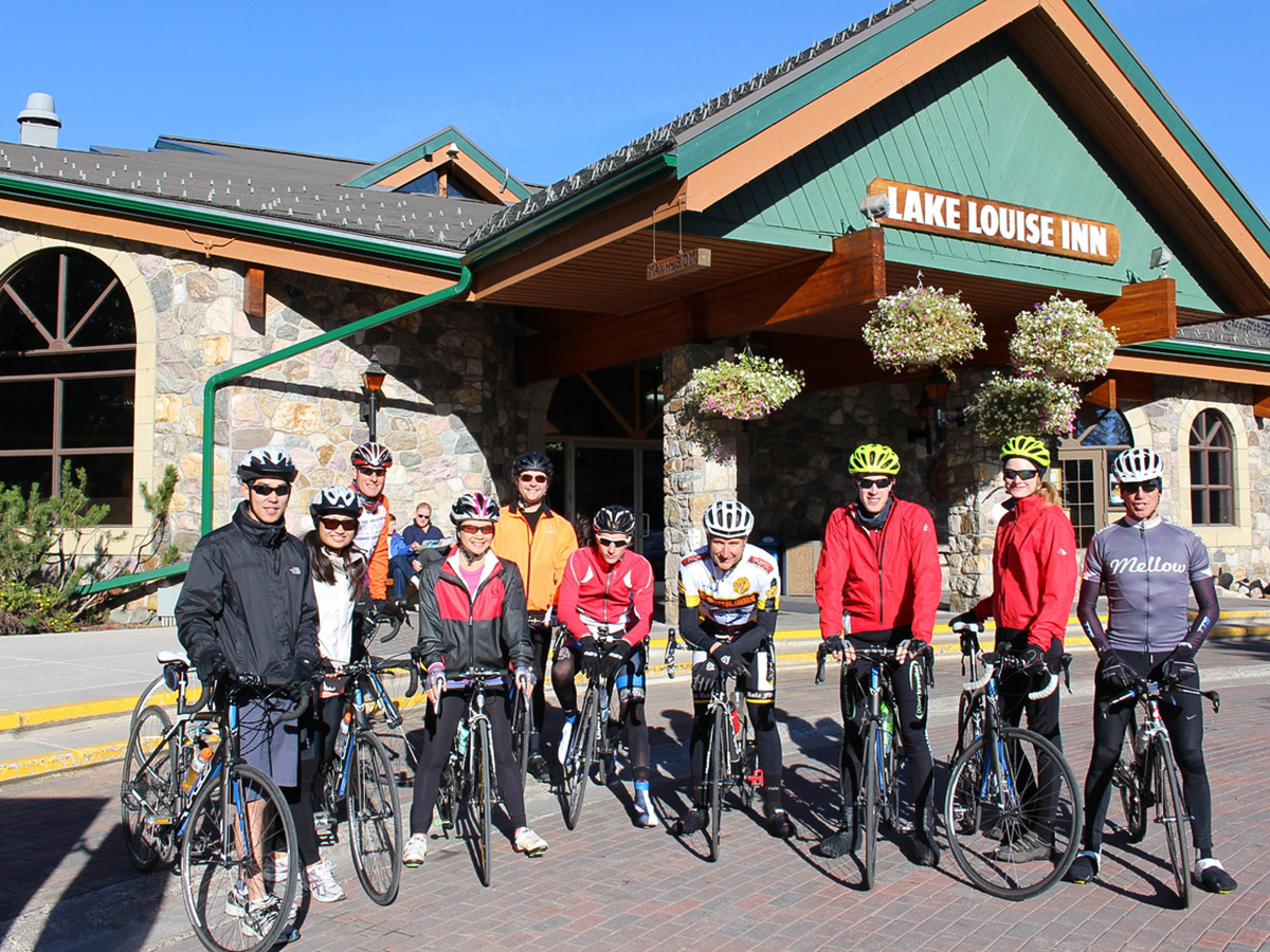 Posing near Lake Louise Inn on guided cycling tour from Jasper to Banff in Canada
