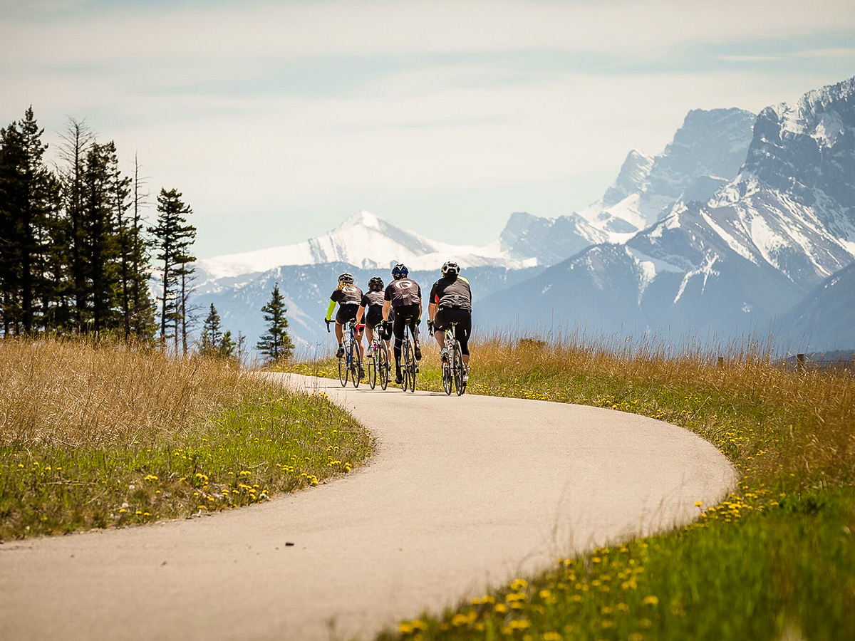 Bikers going on Icefields Parkway on guided cycling tour from Jasper to Banff in Canada