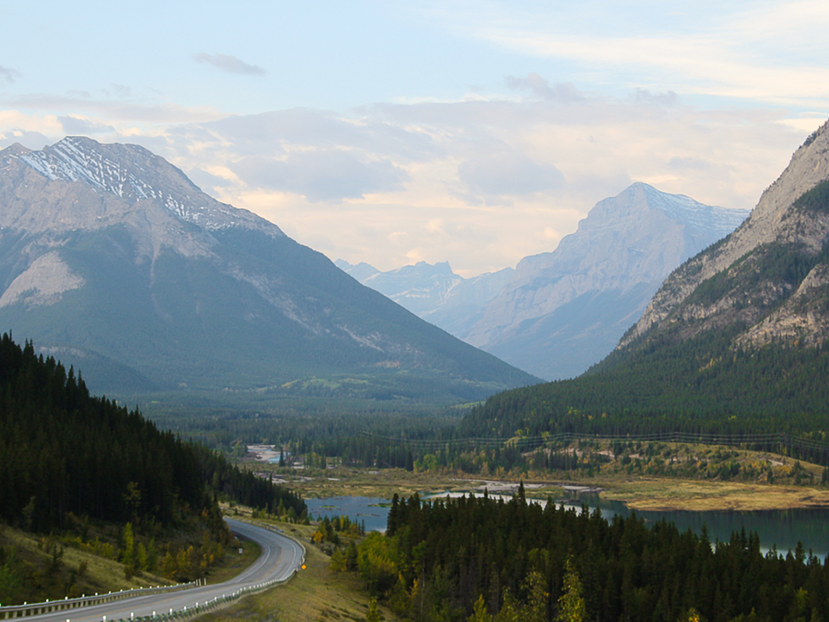 Expansive views of the valley on guided cycling tour from Jasper to Banff in Canada