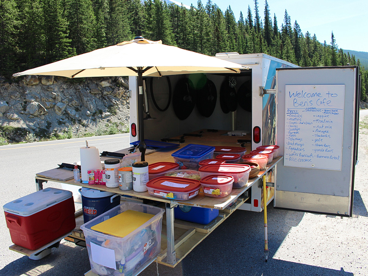 Preparing for lunch time on guided cycling tour from Jasper to Banff in Canada