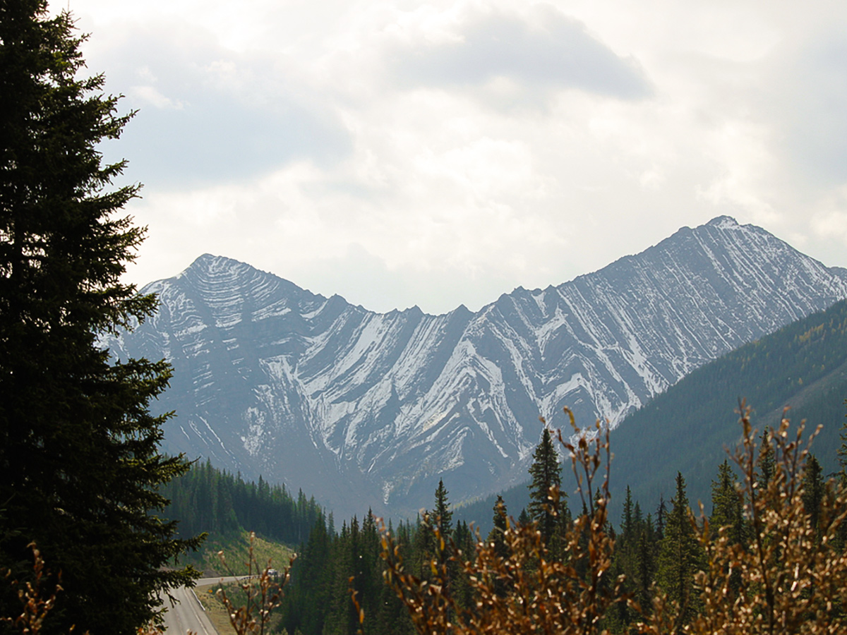 Mountain ridge along the route on guided cycling tour from Jasper to Banff in Canada