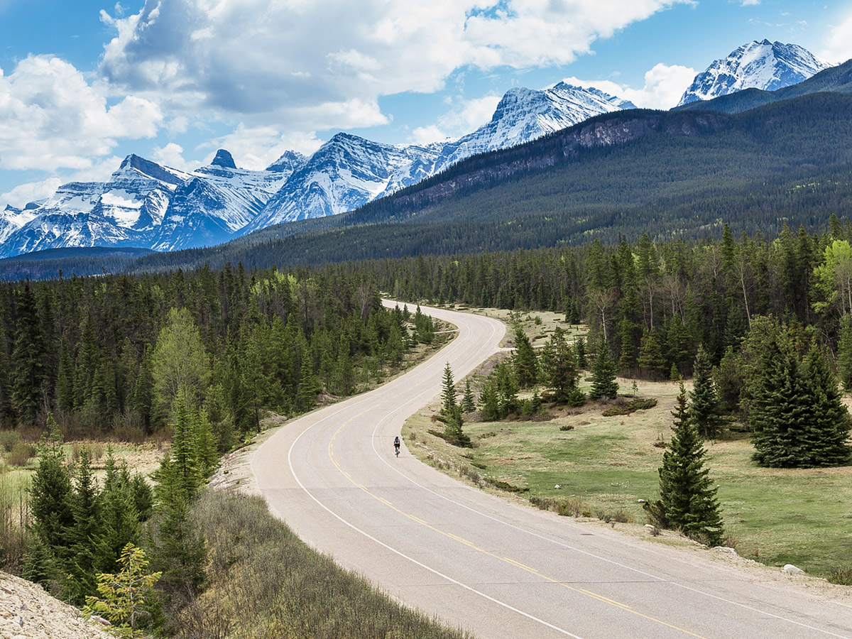 Canadian Rocky Mountains on guided cycling tour from Jasper to Banff in Canada