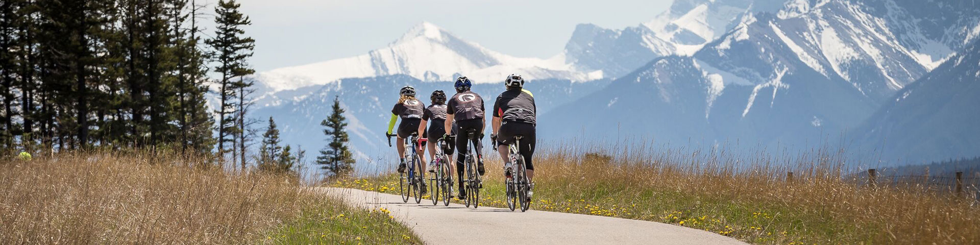 Bikers on cycling tour from Jasper to Banff, Alberta