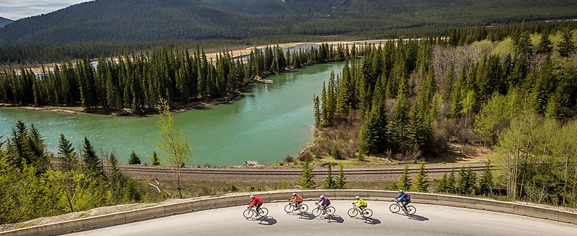 Views of the valley on route from Jasper to Banff on a guided cycling tour in Canadian Rocky Mountains