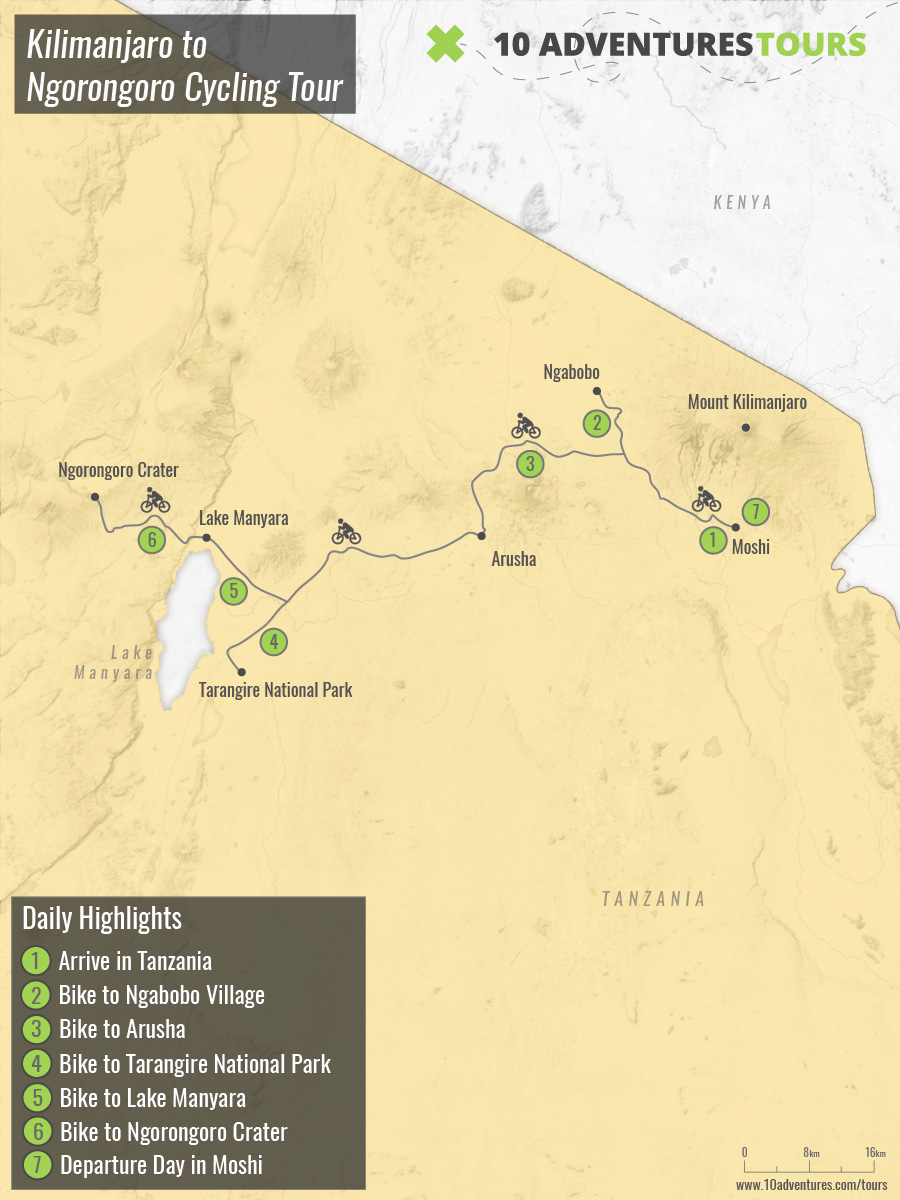 Map of Kilimanjaro to Ngorongoro Cycling Tour with a guided group