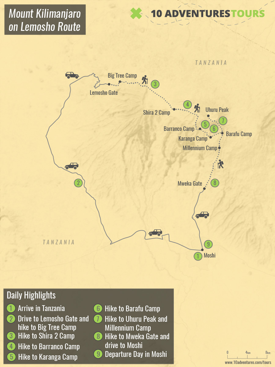 Map of climbing the Mount Kilimanjaro on Lemosho Route trek