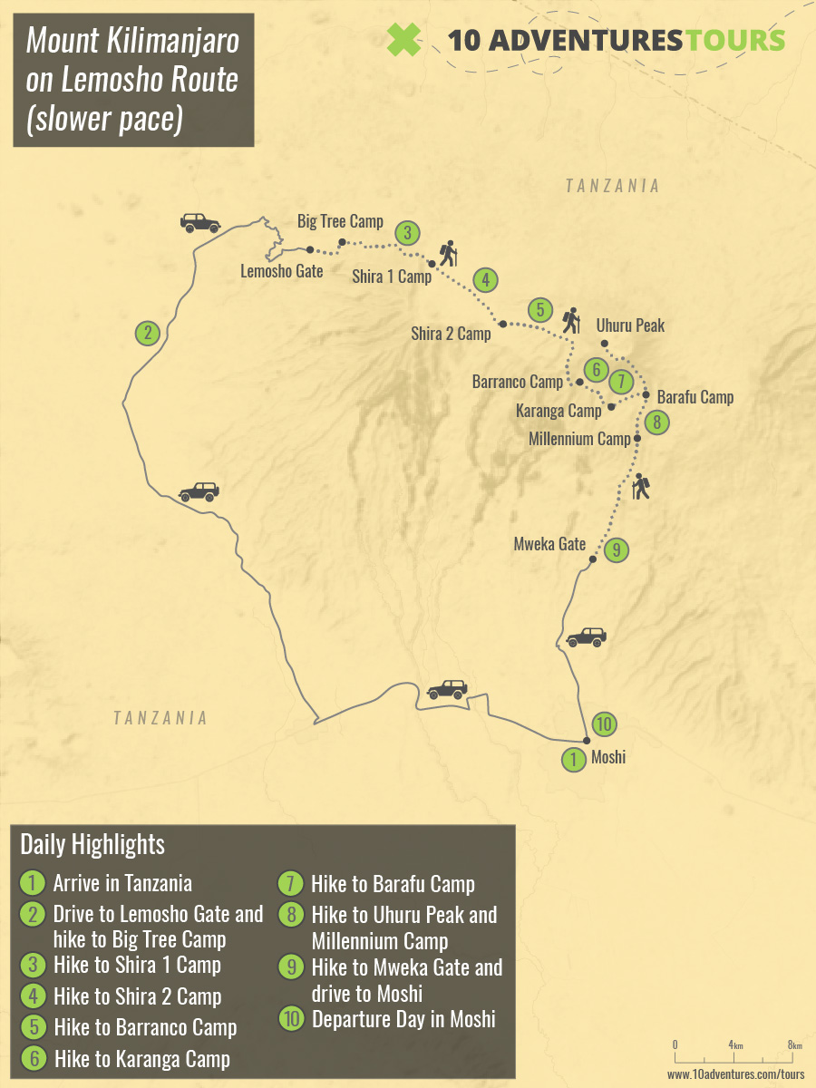 Map of Mount Kilimanjaro on Lemosho Route (slower pace) trek in Tanzania