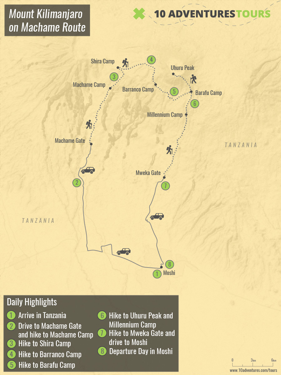 Map of climbing the Mount Kilimanjaro on Machame Route trek in Tanzania