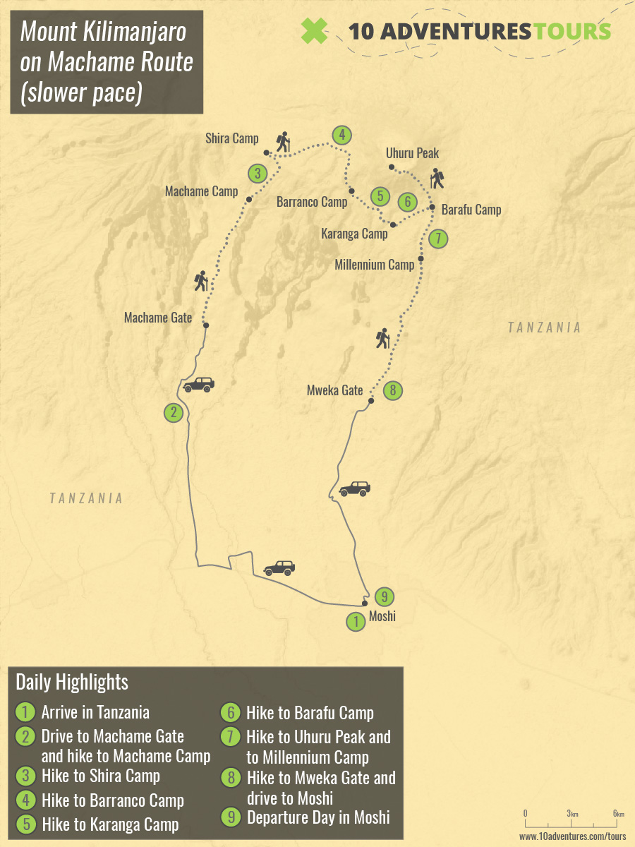 Map of Mount Kilimanjaro on Machame Route (slower pace) trek in Tanzania
