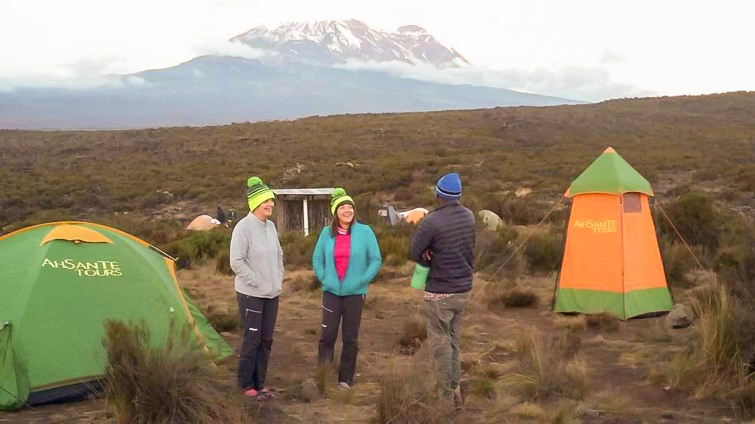 Morning on Kilimanjaro trek on Machame Route in Tanzania