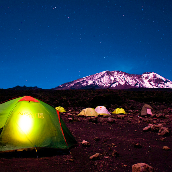 Tents during the night on Kilimanjaro trek on Machame Route in Tanzania