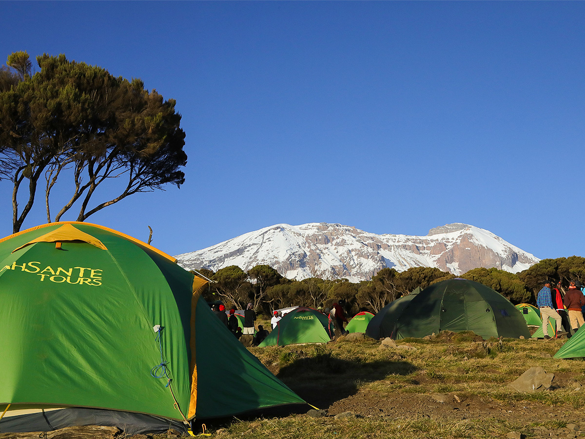 Tent village on Kilimanjaro trek on Machame Route in Tanzania