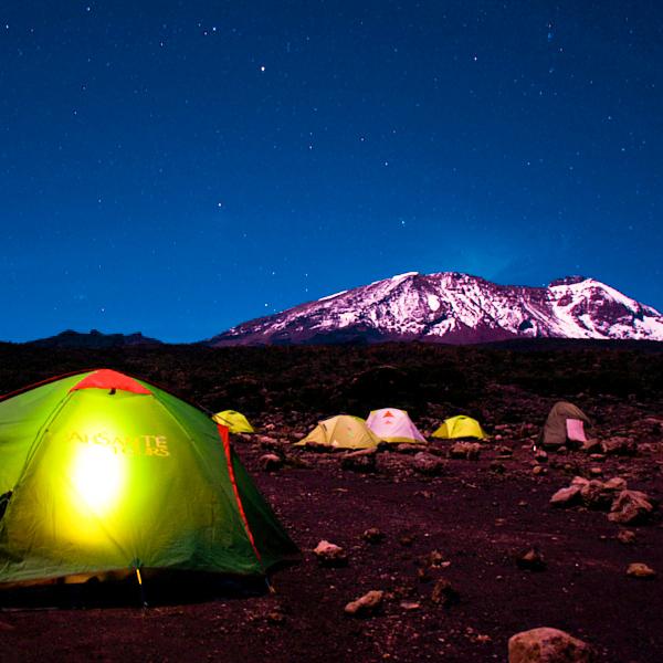 Great scenery of the night on Kilimanjaro trek on Machame Route in Tanzania