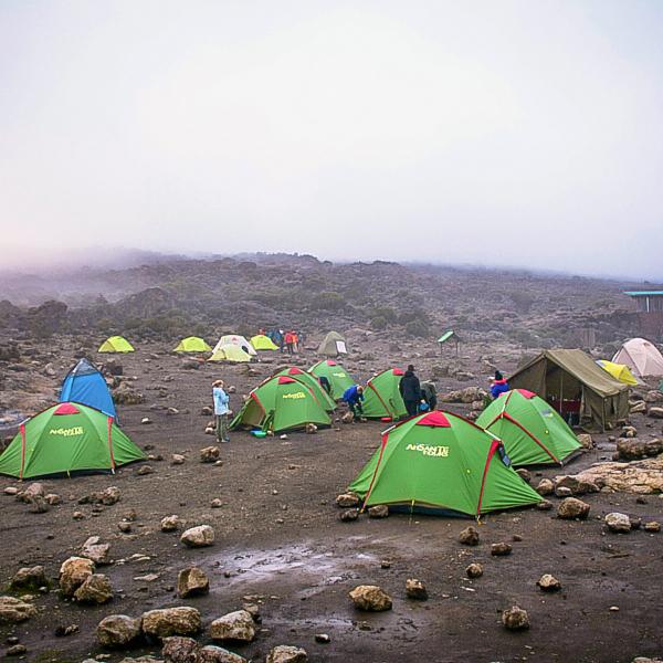 Camping on Kilimanjaro trek on Machame Route in Tanzania