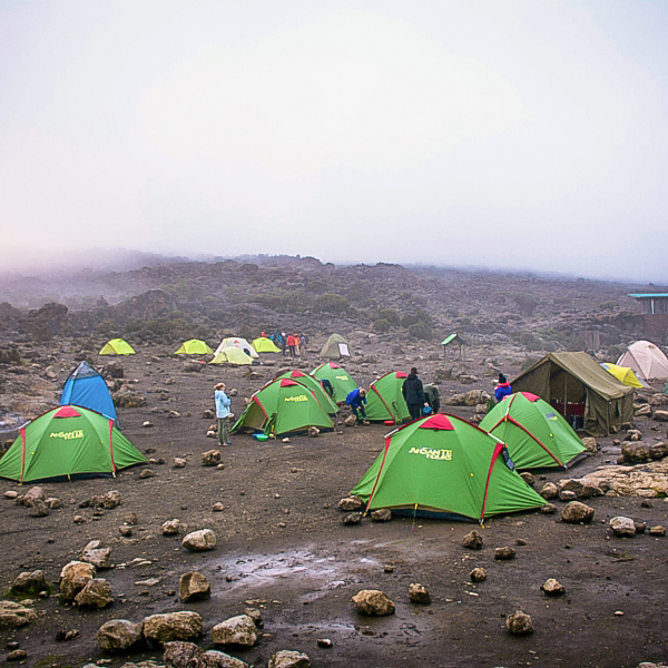 Camping on the Kilimanjaro trek on Machame Route in Tanzania