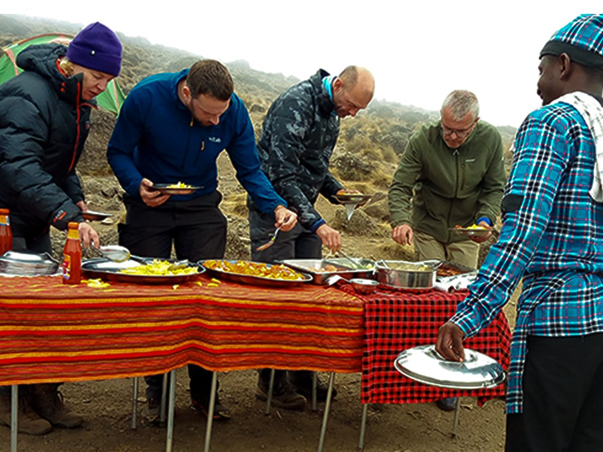 Lunch at Shira Camp on second day of Kilimanjaro trek on Machame Route in Tanzania