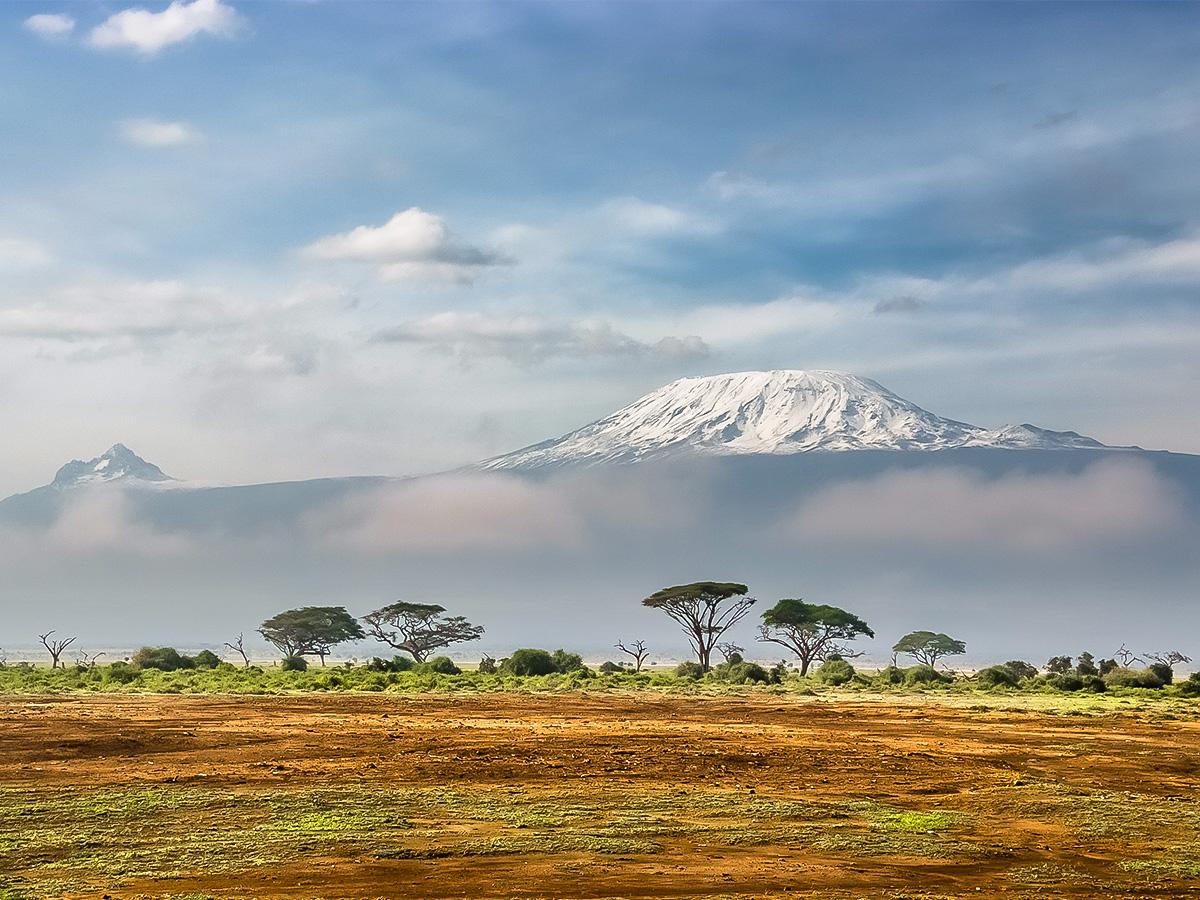Tanzanian steppe and Kilimanjaro Mountain on Kilimanjaro trek on Machame Route in Tanzania