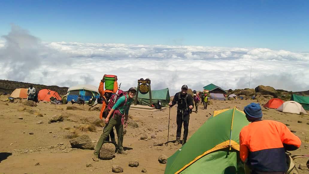 Karanga Camp on the route of Kilimanjaro trek on Machame Route in Tanzania