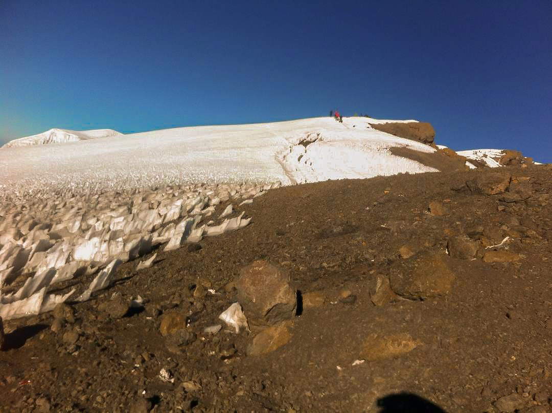 View from Stella Point on guided Kilimanjaro trek on Machame Route in Tanzania