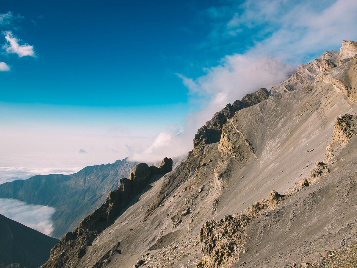 Mountain views from guided Mount Meru trek in Tanzania