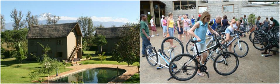 Preparing for biking tour of guided Kilimanjaro to Ngorongoro Cycling Tour