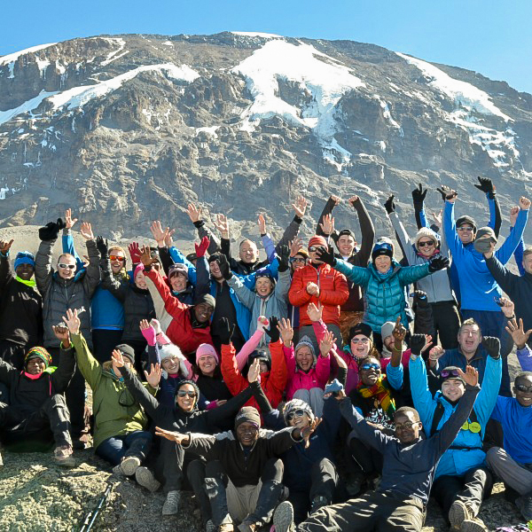 Happy climbers on Kilimanjaro trek on Lemosho Route in Tanzania