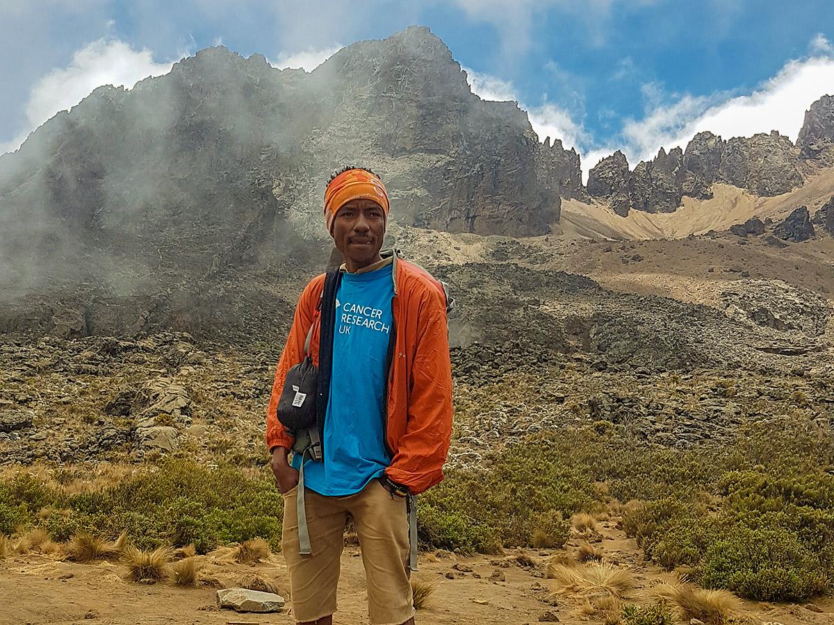 Hiker on Kilimanjaro trek on Lemosho Route in Tanzania