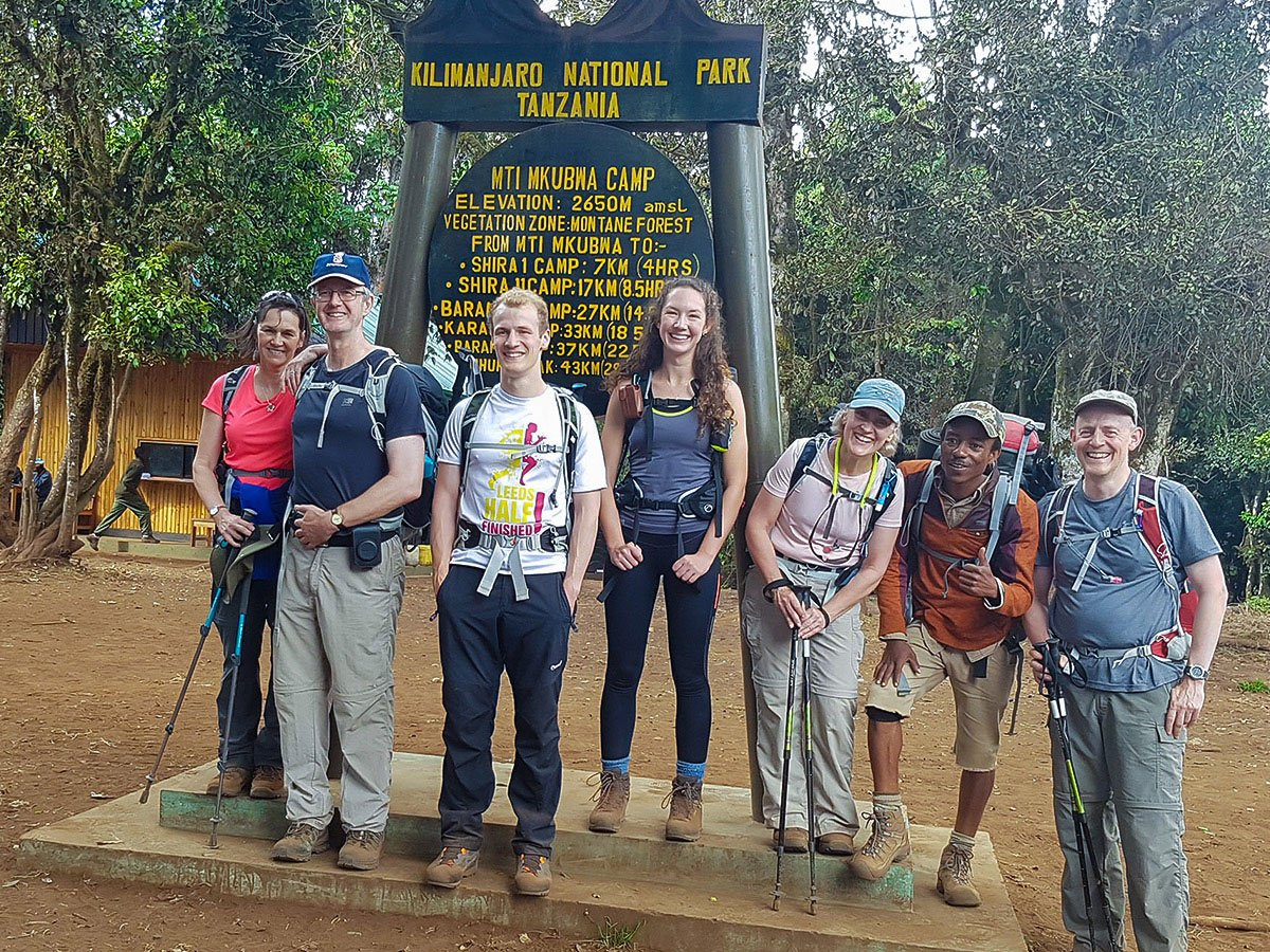 Group of hikers starting guided Kilimanjaro trek on Lemosho Route in Tanzania