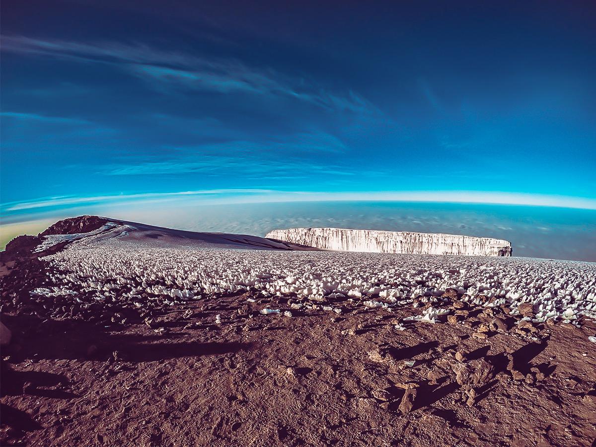 View from summit of Uhuru Peak on Kilimanjaro trek on Lemosho Route in Tanzania