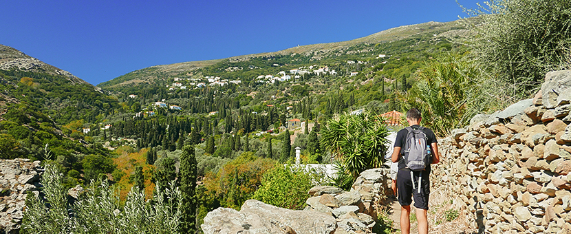 Hiker on Authentic Greek Islands hiking tour on Andros & Tinos