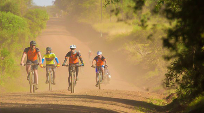 Bikers on a road on guided cycling tour around Mount Kilimanjaro, Tanzania