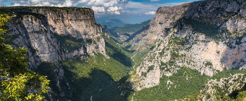 Vikos Gorge view on tour of Pindos Mountains trail in Greece