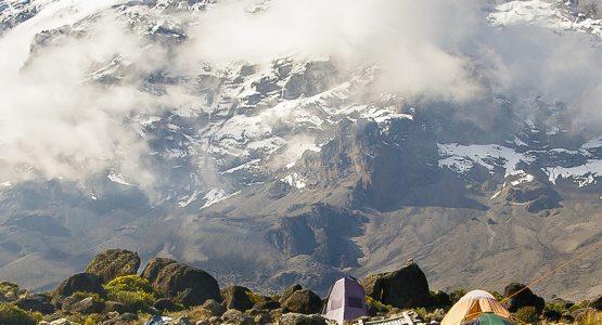 Beautiful panoramic view on Kilimanjaro trek on Lemosho Route in Tanzania