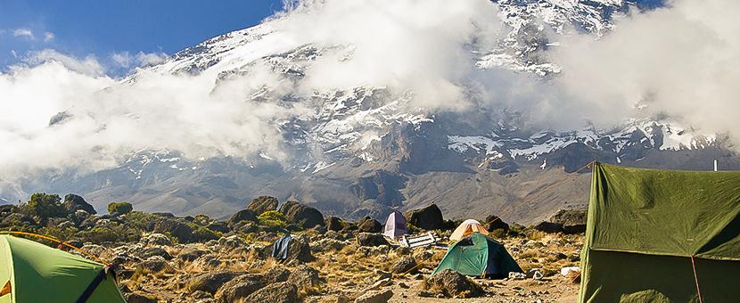 Campsite on Kilimanjaro trek on Lemosho Route in Tanzania