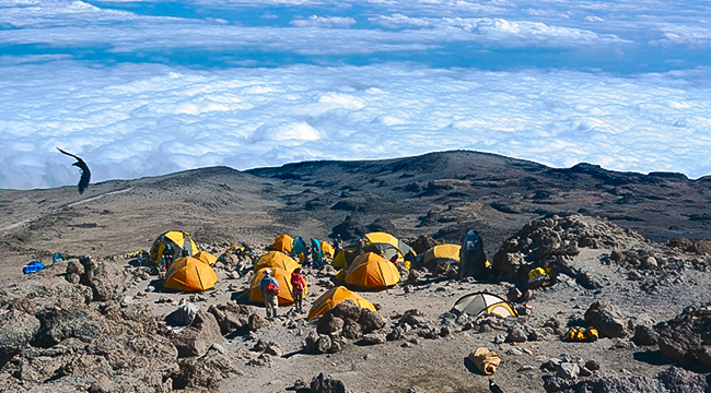 Camping above the clouds on Kilimanjaro trek on Machame Route in Tanzania