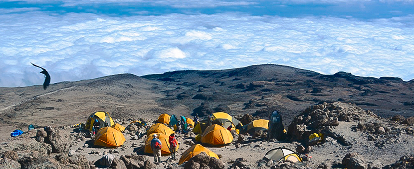 Great views from camping above the clouds on Kilimanjaro trek on Machame Route in Tanzania