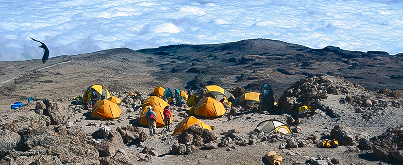 Beautiful camp in high elevation along the Machame Route to Mont Kilimanjaro