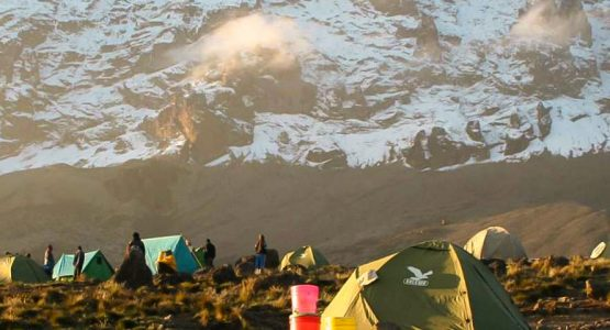 Camping under the peak on Mount Kilimanjaro on Machame Route tour