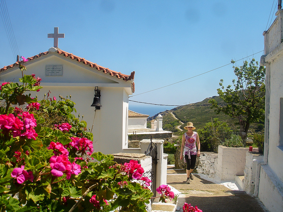 Small village on Authentic Greek Islands hiking tour on Andros & Tinos